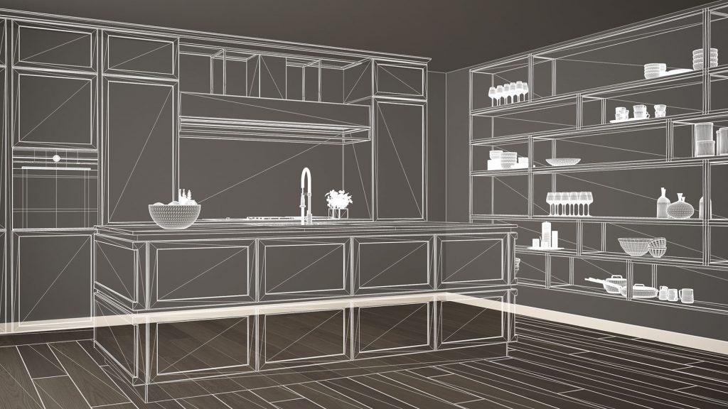 Empty white interior with parquet floor, custom architecture des